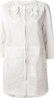 Henry Beguelin , Perforated Decoration Collarless Jacket Women Lamb Skin 44, Nudeneutrals