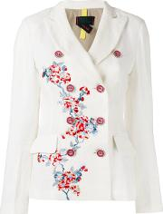 History Repeats , Floral Double Breasted Jacket Women Cottonlinenflax 44, Women's, White