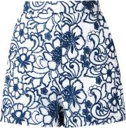 Martha Medeiros , Floral Lace Tammy Shorts Women Silkpolyester 36, Blue
