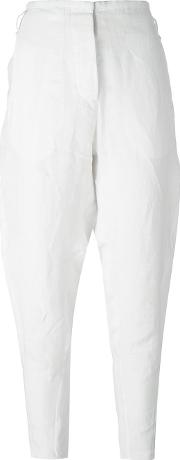 Masnada , Tapered Trousers Women Linenflax 40, Women's, White