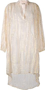 Mes Demoiselles , Metallic Striped Elongated Shirt Women Cottonlurex 1, Women's, White