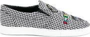 Mira Mikati , Checked Patched Slip On Sneakers Women Cottonleatherrubber 39, Black