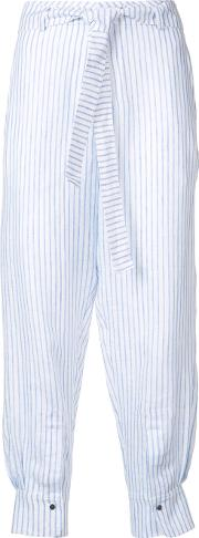 Nehera , Parnas Striped Cropped Trousers Women Linenflax 34, Blue