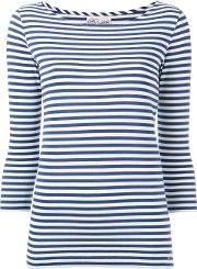 The Seafarer , Striped Knitted T Shirt Women Cotton S, Blue