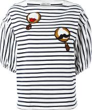 Tsumori Chisato , Patched Puffball Sleeve Striped T Shirt Women Cottoncupro S, Blue