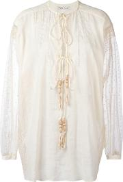 Veronique Branquinho , Embroidered Shirt Women Cottonlinenflax 42, Nudeneutrals