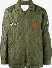 White Mountaineering , Embroidered Quilted Jacket Men Polyester 1, Green
