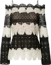 Yigal Azrouel , Off Shoulder Lace Blouse Women Polyester 8, Black