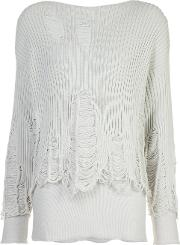 Yang Li , Destroyed Effect Jumper Women Cottonpolyamide 40, Women's, White