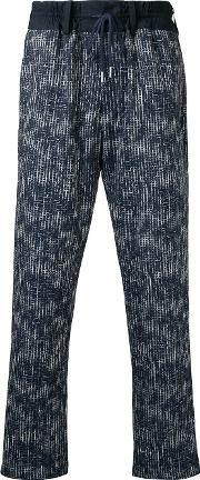 Caselyhayford , Casely Hayford Abstract Print Drawstring Trousers Men Cottonpolyesterspandexelastane 36, Blue