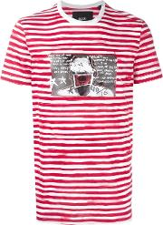 Blood Brother , Glitched Face Print Striped T Shirt Men Cotton L, White