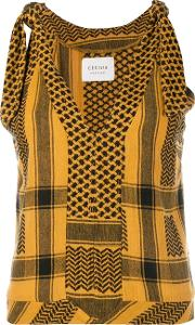 Cecilie Copenhagen , 'topanga' Sleeveless Printed Top Women Cotton 1, Yelloworange