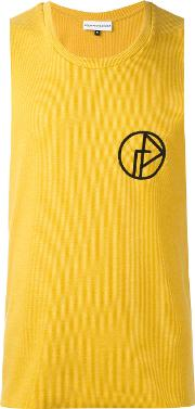 Gosha Rubchinskiy , Embroidered Tank Top Men Cottonpolyester L, Yelloworange