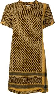 Cecilie Copenhagen , Keffiyeh Cotton Short Sleeve Dress Women Cotton One Size, Yelloworange