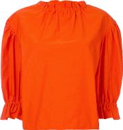 Atlantique Ascoli , Ruffle Blouse Women Cottonlinenflax 0, Yelloworange