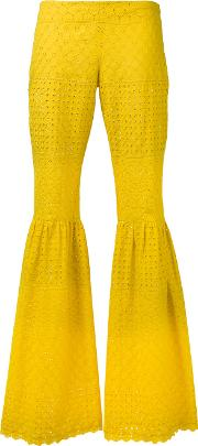 Daizy Shely , Flared Trousers Women Cotton 44, Yelloworange