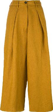 Forte Forte , High Waisted Cropped Trousers Women Linenflax Iii, Yelloworange