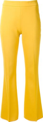 Giambattista Valli , Tailored Flared Trousers Women Cottonspandexelastaneacetateviscose 42, Yelloworange