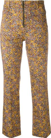 Philosophy Di Lorenzo Serafini , Floral Print Cropped Trousers Women Cottonother Fibers 44, Yelloworange