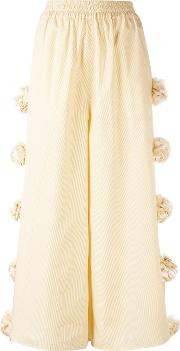 Ports , 1961 Embellished Roses Cropped Trousers Women Cotton 40, Yelloworange