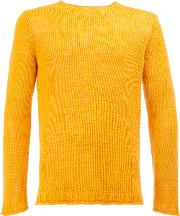 Roberto Collina , Knitted Sweater Men Linenflax 46, Yelloworange