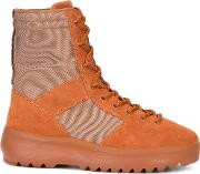 Yeezy , Lace Up Boots Men Cottonrubbersuedepolyester 41, Yelloworange