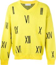 Gosha Rubchinskiy , Numbers V Neck Sweater Men Cotton Xl, Yelloworange