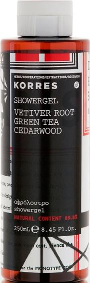 Korres , Vetiver Root, Green Tea And Cedarwood Showergel 250ml