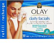 Olay , Daily Facials Lathering Soothing Cleansing Cloths Refill Sensitive X30