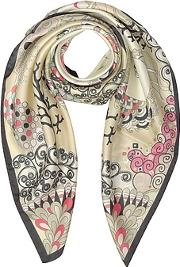 Mila Schon ,  Seahorses And Coral Reefs Print Twill Silk Square Scarf