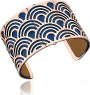 Les Georgettes ,  Poisson Rose Gold Plated Bracelet Wnavy Blue And Beige Reversible Leather Strap