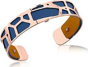 Les Georgettes ,  Small Giraffe Rose Gold Plated Bracelet Wnavy Blue And Beige Reversible Leather Strap