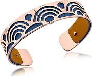 Les Georgettes ,  Small Poisson Rose Gold Plated Bracelet Wnavy Blue And Beige Reversible Leather Strap