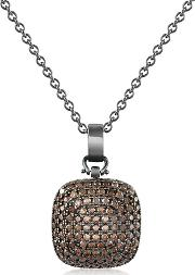 Azhar ,  Cubic Zirconia And Sterling Silver Square Pendant Necklace