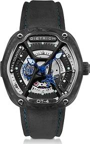 Dietrich ,  Ot-4 316l Steel And Forged Carbon Men's Watch Wblue Luminova And Gray Suede Strap