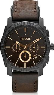 Fossil ,  Machine Mid-size Chronograph Brown Leather Men's Watch