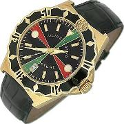 Julius Legend ,  Sea Fortune Diver - 18k Gold And Leather Watch