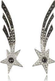 Bernard Delettrez ,  Shooting Stars White Gold Earrings Wdiamonds