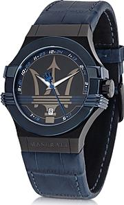 Maserati ,  Potenza Blue Stainless Steel Men's Watch Wcroco Embossed Leather Band