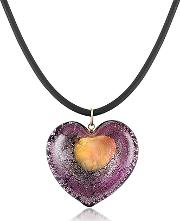 Akuamarina ,  Silver Leaf And Murano Glass Heart Pendant Necklace