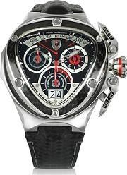 Tonino Lamborghini ,  Red And Silver Stainless Steel Spyder Chronograph Watch