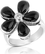 Del Gatto ,  Diamond And Onyx Flower 18k Gold Ring