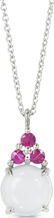 Mia & Beverly ,  Chalcedony And Pink Sapphires 18k White Gold Pendant Necklace