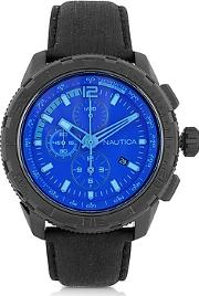 Nautica ,  Nst 101 Black Stainless Steel Case And Leather Strap Men's Chronograph Watch