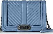 Rebecca Minkoff ,  Azure Chevron Quilted Leather Small Love Crossbody Bag