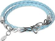 Sho London ,  Mari Friendship - Sterling Silver & Leather Double Bracelet