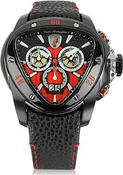 Tonino Lamborghini ,  Black Stainless Steel Spyder Chronograph Watch Wred Dial