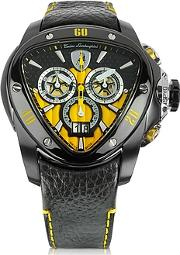 Tonino Lamborghini ,  Black Stainless Steel Spyder Chronograph Watch Wyellow Dial