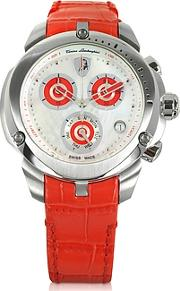Tonino Lamborghini ,  Shield Lady Silver Tone Stainless Steel And Red Croco Print Leather Chronograph Watch
