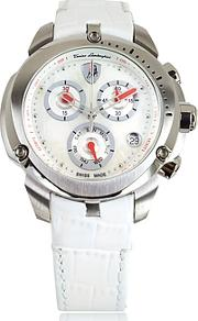Tonino Lamborghini ,  Shield Lady Silver Tone Stainless Steel And White Croco Print Leather Chronograph Watch